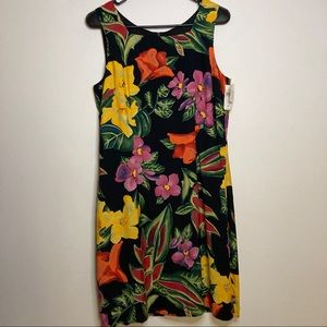 Tropical Floral Watercolor Paint Style Dress NWT